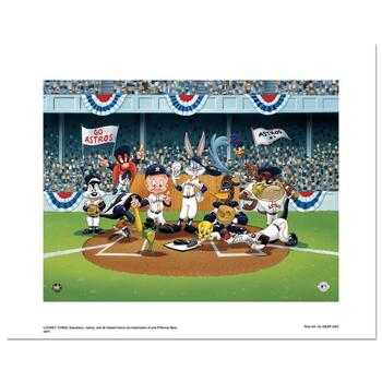 """Line Up At The Plate (Astros)"" is a Limited Edition Giclee from Warner Brothers with Hologram Seal and COA."