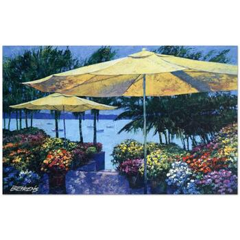 """Howard Behrens (d.2014), """"Flowers by the Sea"""" Ltd Ed Embellished Giclee on Canvas No. and Hand Signed w/Cert."""