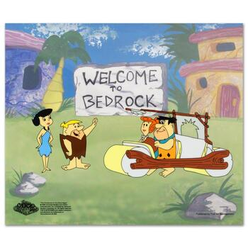 """The Flintstones, """"Fred's New Car"""" Limited Edition Sericel with Certificate of Authenticity."""