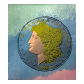 """Steve Kaufman (1960-2010), """"1881 Coin"""" Hand Signed and Numbered Mixed Media Silkscreen Canvas LOA."""