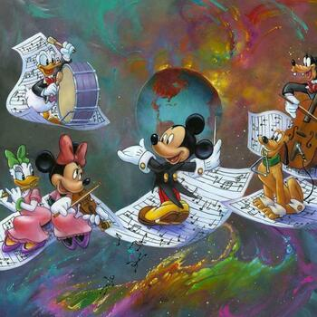 """Jim Warren """"A Universe of Music"""" Disney Limited Edition Hand Embellished Giclee on Canvas; Hand Signed; COA"""
