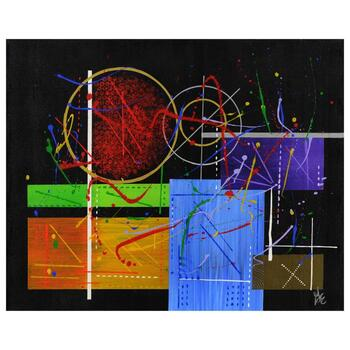 """George Marlowe, """"Seaborgium"""" Hand Signed Original Acrylic Painting on Canvas with Certificate of Authenticity."""