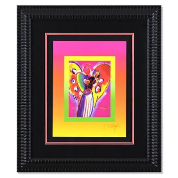 """Peter Max, """"Angel with Heart on Blends"""" Framed Limited Edition Lithograph, Numbered 448/500 and Hand Signed with COA."""