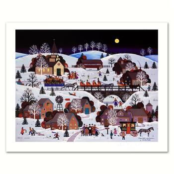 """Jane Wooster Scott, """"Jingle Bells and Carolers"""" Hand Signed Limited Edition Lithograph with Letter of Authenticity."""
