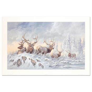 """Larry Fanning (1938-2014), """"Solstice Rendezvous - Elk"""" Limited Edition Lithograph, Numbered and Hand Signed with LOA"""