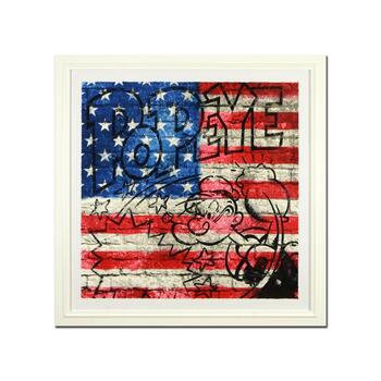 """Mr Brainwash, """"Popeye (Flag)"""" Framed Limited Edition Silk Screen Hand Signed and Numbered PP 3/3; Letter of Authenticity."""