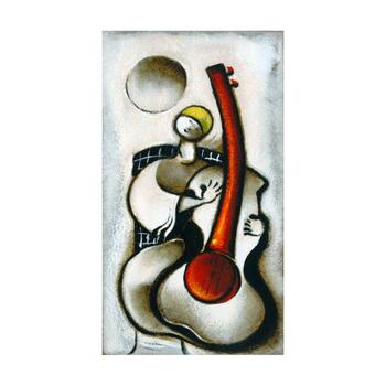 """David Schluss, """"Guitar Melody"""" Limited Edition Serigraph, Numbered and Hand Signed with Letter of Authenticity."""