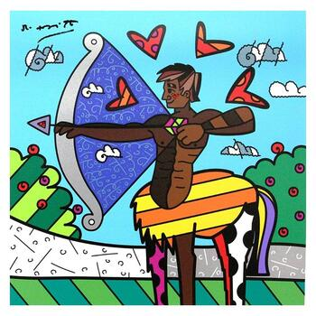 """Britto, """"Sagittarius Black"""" Hand Signed Limited Edition Giclee on Canvas; Authenticated."""