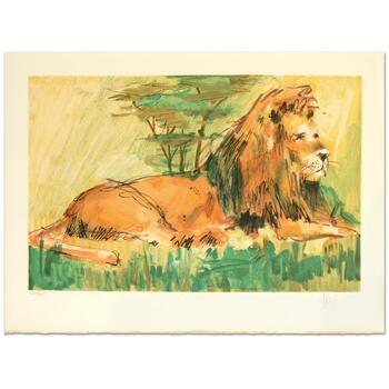 """Wayland Moore, """"Lion"""" Limited Edition Lithograph, Numbered and Hand Signed."""