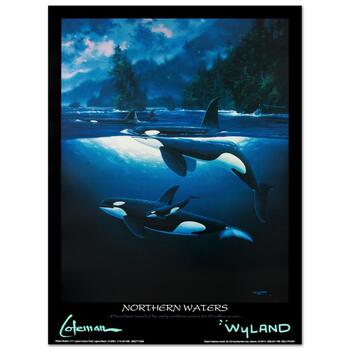 """Wyland, """"Northern Waters"""" Collectible Fine Art Poster."""