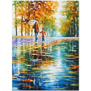 """Leonid Afremov (1955-2019) """"Stroll in an Autumn Park"""" Limited Edition Giclee on Gallery Wrapped Canvas, Numbered and Signed."""