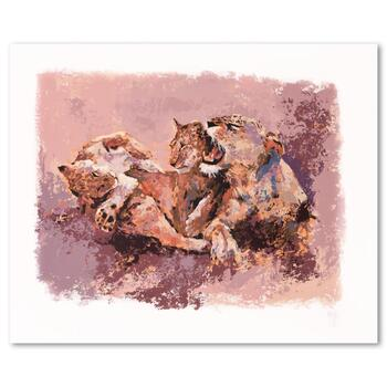 """Mark King (1931-2014), """"Lioness & Her Cubs"""" Limited Edition Serigraph, Numbered and Hand Signed with Letter of Authenticity."""