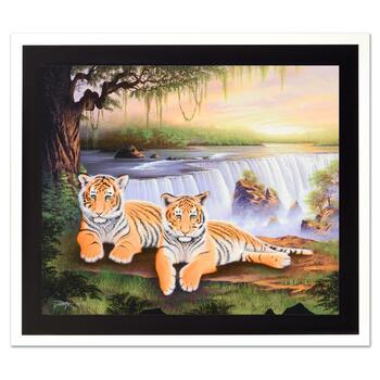 """Jon Rattenbury, """"Tiger Falls"""" Ltd Ed Giclee on Canvas, Numbered and Hand Signed with Certificate."""