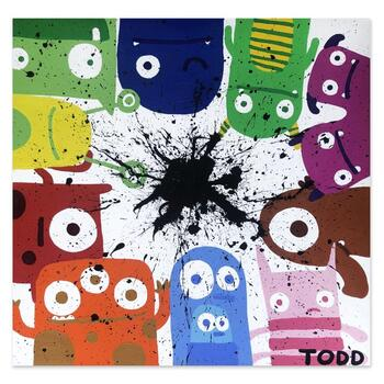 """Todd Goldman, """"Monsters"""" Hand Signed Original Painting on Canvas with Letter of Authenticity."""