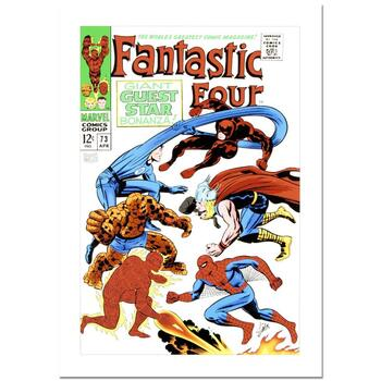 """Stan Lee Signed, """"Fantastic Four #73"""" Marvel Comics Limited Edition Canvas by Jack Kirby (1917-1994); COA"""