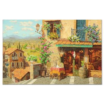 """Viktor Shvaiko, """"San Trovaro Taverna"""" Ltd Ed Hand Embellished on Canvas, Numbered and Hand Signed with Certificate."""