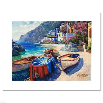"""Behrens, """"Memories of Capri"""" Ltd Ed Embellished Giclee on Canvas, Numbered and Hand Signed w/Cert."""