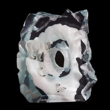 """Kitty Cantrell, """"Polar Play"""" Limited Edition Mixed Media Lucite Sculpture with COA."""