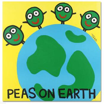 """Todd Goldman, """"Peas on Earth"""" Ltd Ed Lithograph, Numbered and Hand Signed with Certificate of Authenticity."""