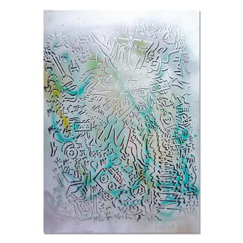 "Mark Kostabi, ""Awareness In The Mist"" Mixed Media Original Painting; Hand Signed; COA"