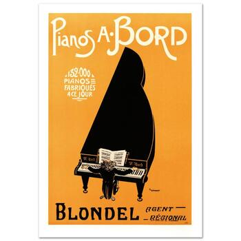 """RE Society, """"Pianos A Bord"""" Hand Pulled Lithograph, Image Originally by P.F. Grignon. Includes Letter of Authenticity."""