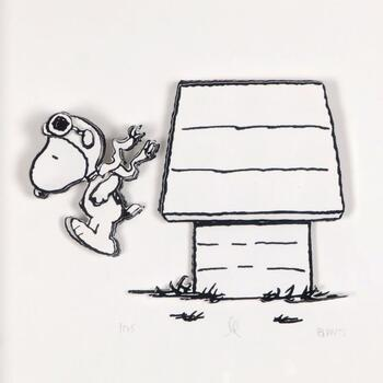 """Peanuts, """"Jump Right In"""" Hand Numbered Limited Edition 3D Decoupage with Certificate of Authenticity."""