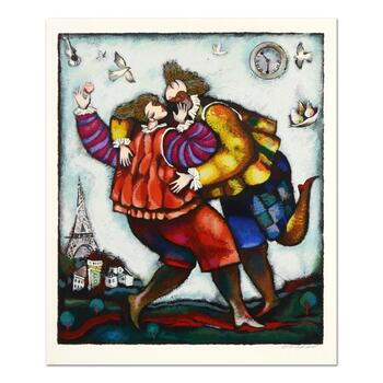 """Michael Kachan, """"The Kiss"""" Limited Edition Serigraph, Numbered and Hand Signed with Letter of Authenticity."""