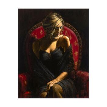 """Fabian Perez """"Black Stone"""" Hand Embellished Limited Edition Canvas; Hand Signed, with COA."""