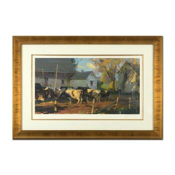 """Dan Gerhartz, """"Evening Holsteins"""" Framed Limited Edition, Numbered 68/195 and Hand Signed with Letter of Authenticity."""