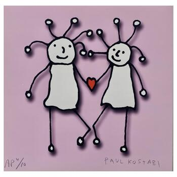 """Paul Kostabi, """"SPRKL Love (Pink)"""" Hand Signed Limited Edition Giclee with Letter of Authenticity."""