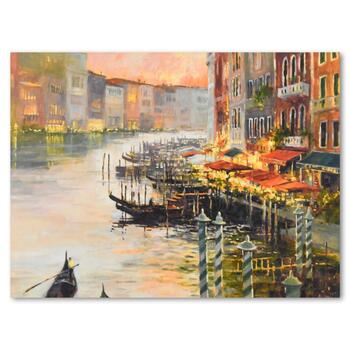 """Marilyn Simandle, """"Canal at Dusk"""" Limited Edition on Canvas, Numbered and Hand Signed with Letter of Authenticity."""