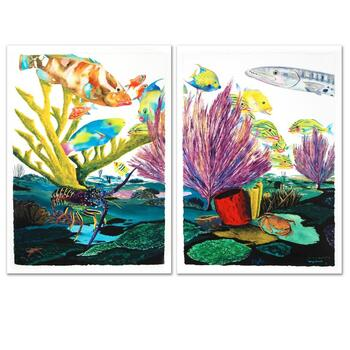 """Wyland, """"Coral Reef Life"""" Limited Edition Giclee Diptych on Canvas, Numbered and Hand Signed with Certificate."""