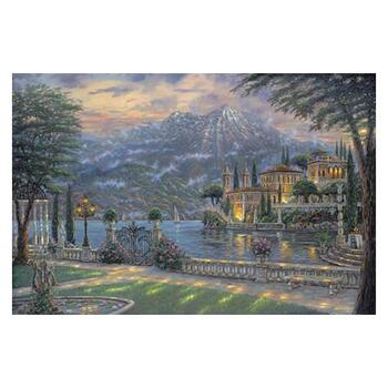 """Robert Finale, """"Villa Balbianello"""" Hand Signed, Artist Embellished Limited Edition on Canvas with COA."""