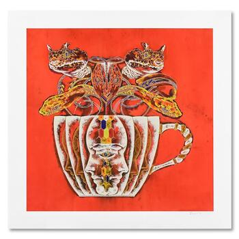 """Lu Hong, """"Medusa in Tea Cup 2"""" Limited Edition Mixed Media on Rice Paper, Numbered and Hand Signed with Letter of Authenticity"""