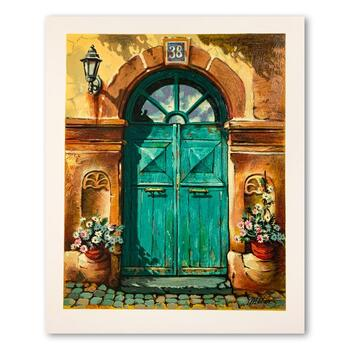 """Anatoly Metlan, """"House No. 38"""" Hand Signed Limited Edition Serigraph on Paper with Letter of Authenticity."""