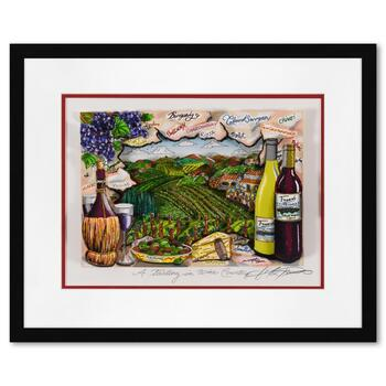 """Charles Fazzino, """"A Tasting in Wine Country"""" Framed 3D Limited Edition Silk Screen, DX Numbered 172/250 and Hand Signed with COA"""