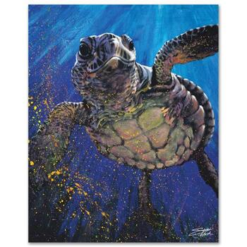 """Stephen Fishwick, """"Kemp's Ridley"""" LIMITED ED Giclee on Canvas, Numbered and Signed."""