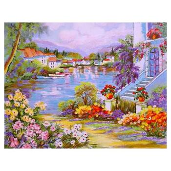 """Zina Roitman, """"River Side"""" Hand Signed Limited Edition Serigraph with Letter of Authenticity."""