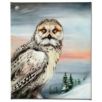 """Martin Katon, """"Snow Owl in Alaska"""" Ltd Ed Giclee on Gallery Wrapped Canvas, Numbered and Hand Signed."""