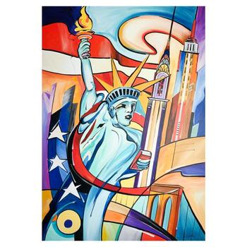 """Alfred Gockel, """"Flame of NY"""" Hand Signed Limited Edition on Canvas with Letter of Authenticity."""