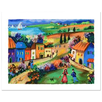 """Shlomo Alter, """"The Village"""" Limited Edition Serigraph, Numbered and Hand Signed with Certificate."""