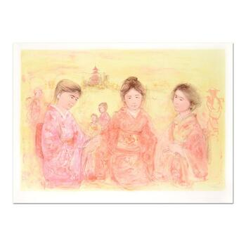 """Edna Hibel (1917-2014), """"Japanese Girls"""" Ltd Ed Lithograph, Numbered 130/390 and Hand Signed with Certificate."""