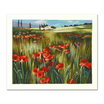 """Yuri Dupond, """"Red Meadow"""" Limited Edition Serigraph, Numbered and Hand Signed with Certificate of Authenticity."""