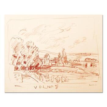 "Wayne Ensrud ""View of Volnay, Burgundy"" Pencil Original Artwork; Hand Signed; COA"