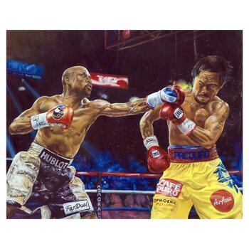 """Turchinsky Dimitry, """"Mayweather Vs Pacquiao"""" Hand Signed Mixed Media on Canvas with Letter of Authenticity."""