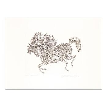 """Guillaume Azoulay, """"L'arlechino"""" Limited Edition Etching, Numbered and Hand Signed with Letter of Authenticity."""