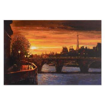 """Howard Behrens (1933-2014), """"Twilight On The Seine II"""" Ltd Ed on Canvas, Numbered and Signed with Certificate of Authenticity."""