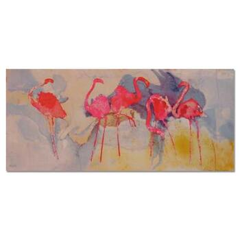 """Edwin Salomon, """"Flamingo Fantasia"""" Hand Signed Limited Edition Serigraph with Letter of Authenticity."""