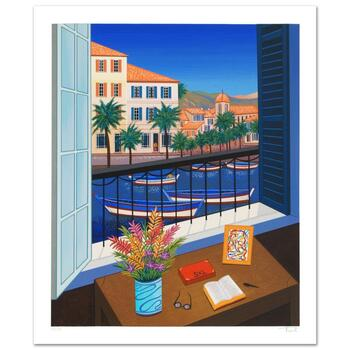 """Fanch Ledan, """"Window on Bonifacio"""" Limited Edition Serigraph, Numbered and Hand Signed with Certificate."""