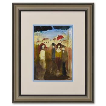 Moshe Leider, Framed Original Mixed Media Watercolor Painting, Hand Signed with Letter of Authenticity.
